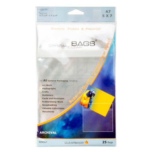 """ClearBags 5 7/16"""" x 7 1/4"""" Crystal Clear Protective Closure Bags Pack of 25 (1 Pack) [RPA5X7]"""