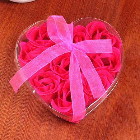 OkrayDirect 9Pcs Heart Scented Bath Body Petal Rose Flower Soap Wedding Decoration Gift