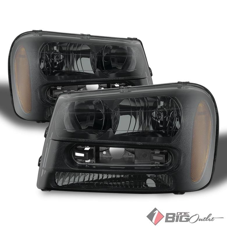 For 2002-2009 Trailblazer/EXT Black Smoked Headlights Ass...