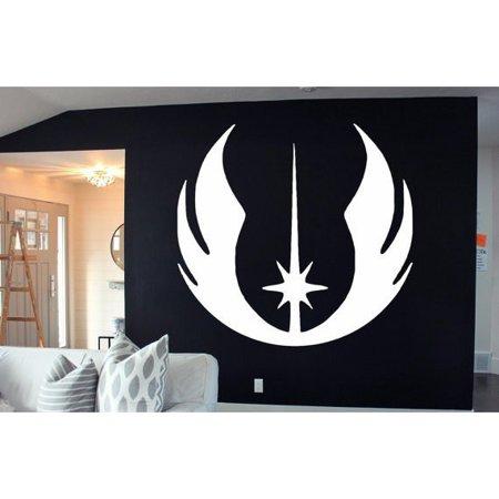 Stickalz Llc Full Color Tar Wars Jedi Symbol Vinyl Decal White