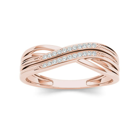 1/20Ct TDW Diamond Ribbon Crossover 10K Rose Gold Diamond Fashion