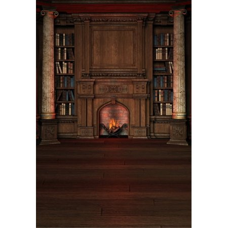 MOHome Polyster 5x7ft Retro Theme Fireplace Wood Bookshelf Portraits Photography Backdrops Indoor Studio Backgrounds Photo Props
