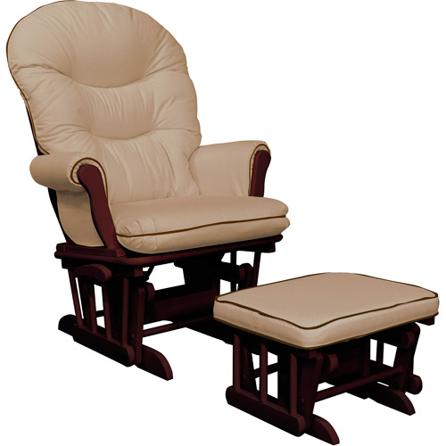 Shermag Richmond Deluxe Sleigh Glider Rocker and Ottoman with Accent Piping, Pearl Beige with Chocolate Piping