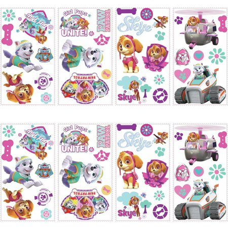 RoomMates Paw Patrol Girl Pups Peel and Stick Wall Decals, 2 pack