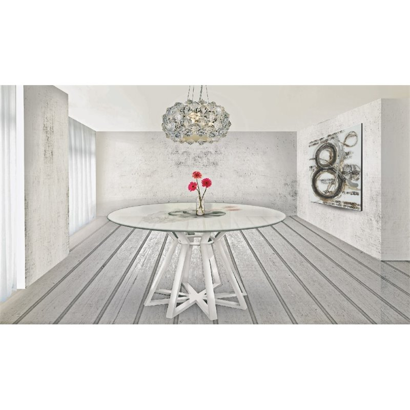 Casabianca Star Round Dining Table in White by Casabianca Furniture