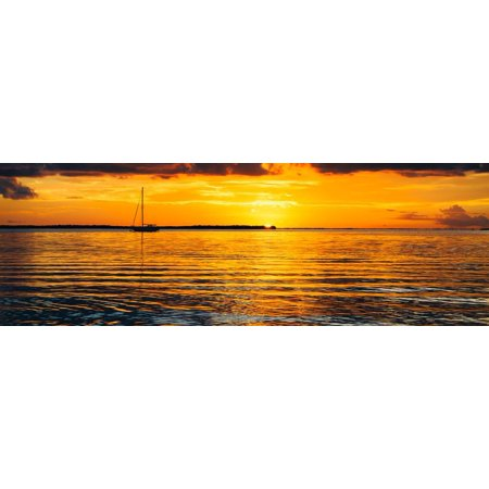 Sunset Landscape with a Yacht - Miami - Florida Print Wall Art By Philippe (Best Sunset In Miami)