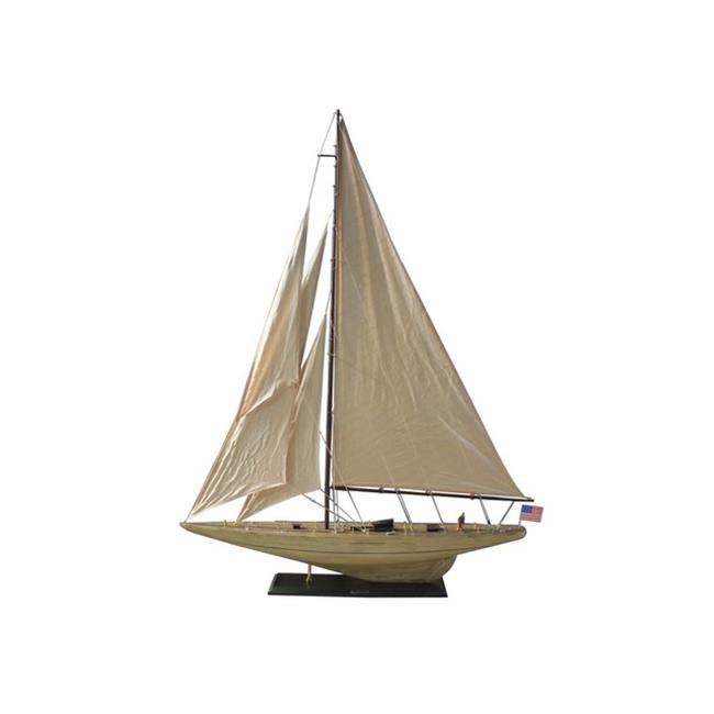 Handcrafted Decor R -Intrepid60 Wooden Rustic Intrepid Model Sailboat Decoration, 60 in. by Handcrafted Decor