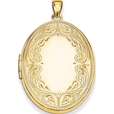 Scroll Pendant Setting (Leslies Fine Jewelry Designer 14K Yellow Gold 31mm Oval Scroll Locket (31x25mm) Pendant)