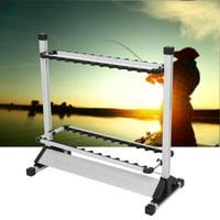 Fishing Rod Holder,HURRISE Titanium Alloy Fishing Rod Rack Stand 24 Slots Alloy Metallic Silver with Black rack