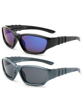 "3 Pairs Newbee Fashion - ""Sporty"" Kyra Kids Sport Design Wrap Around Flash/Mirror Sunglasses (1 - 5 Years)"