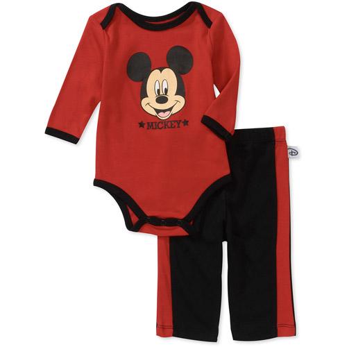 Disney Newborn Boys' 2-Piece Mickey Creeper and Pants Set