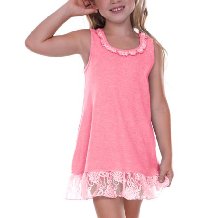 Hot Pink Dresses For Little Girls (Kavio! Little Girls 3-6X Lace Trim A-Line Tank Dress Pink Flash)