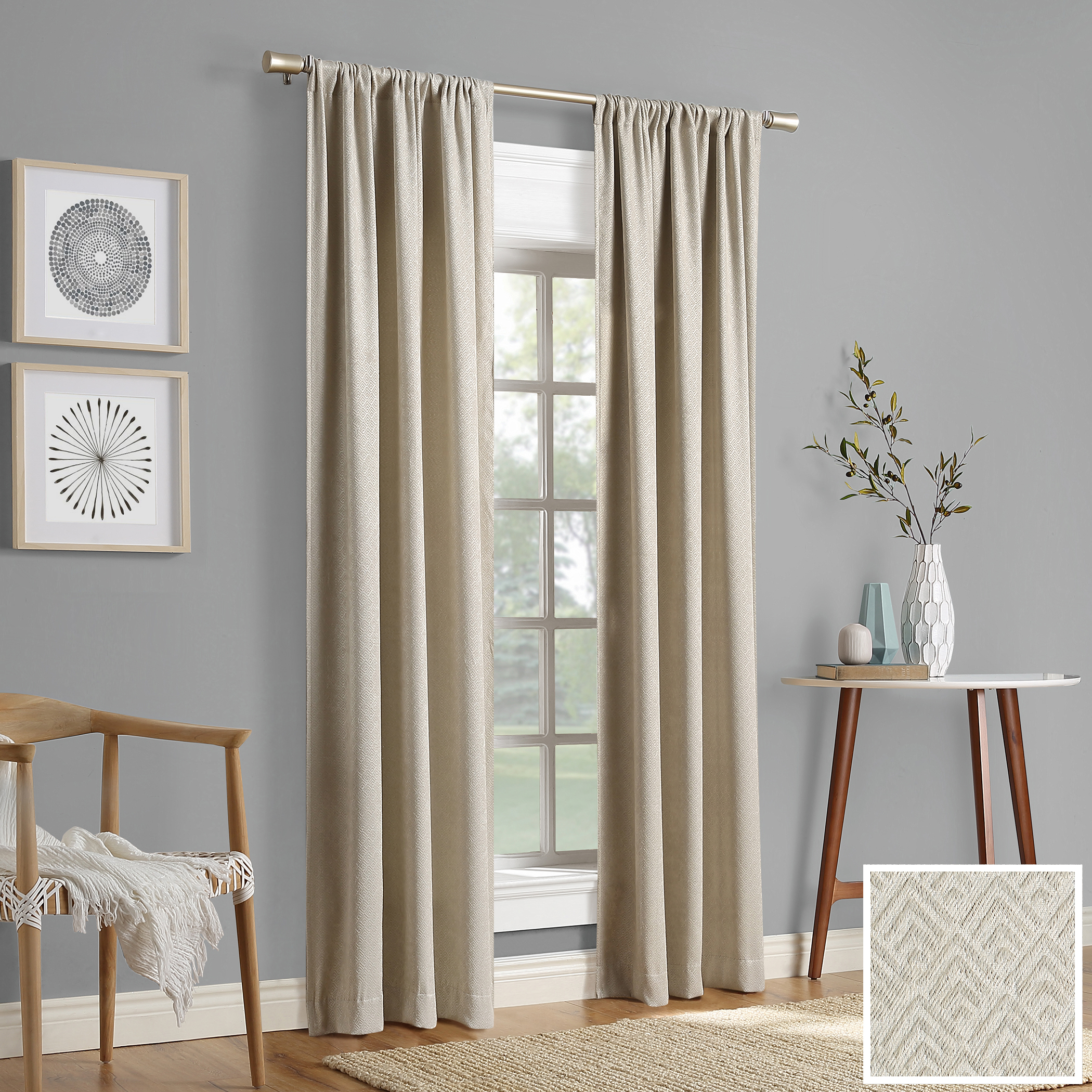 Sun Zero 2-pack Caya Embossed Geometric Blackout Rod Pocket Curtain Panel Pair