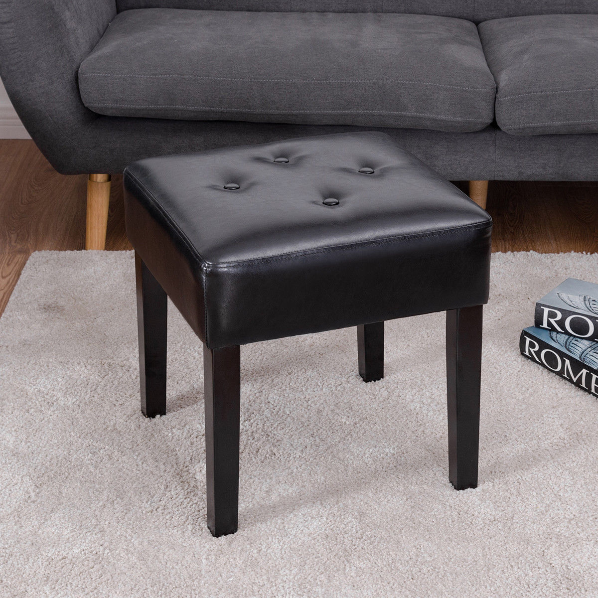 Costway Square PU Leather Ottoman Footstool Tufted Padded Seat Solid Wood Legs Black
