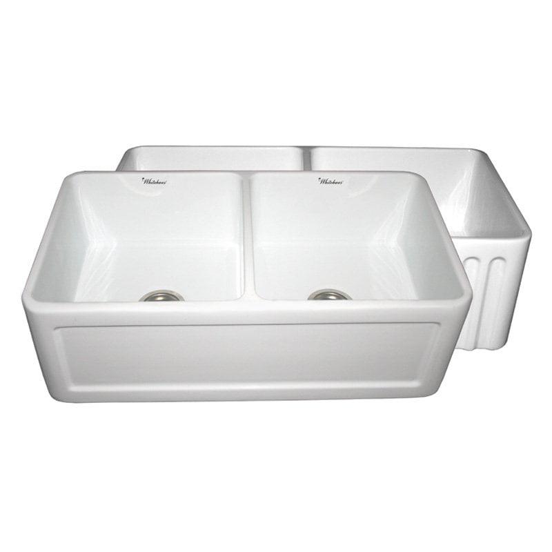 Reversible 15.38 in. Fireclay Farmhaus Double Bowl Kitchen Sink (White)