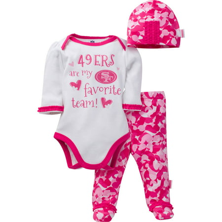 NFL San Francisco 49ers Baby Girls Bodysuit, Pant and Cap Outfit Set, 3-Piece by