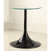 A Line Furniture Contemporary Black Gloss Finish Side/ EndTable with Tempered Glass Top