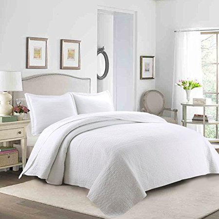 Marcielo 3 Piece 100 White Cotton Quilt Set Lightweight White