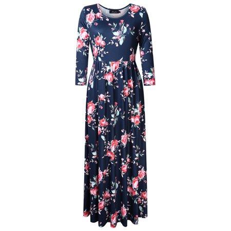 69a93773dd Kojooin - Women s Plus Size Boho Floral Print 3 4 Sleeve Maxi Dresses with  Pockets - Walmart.com