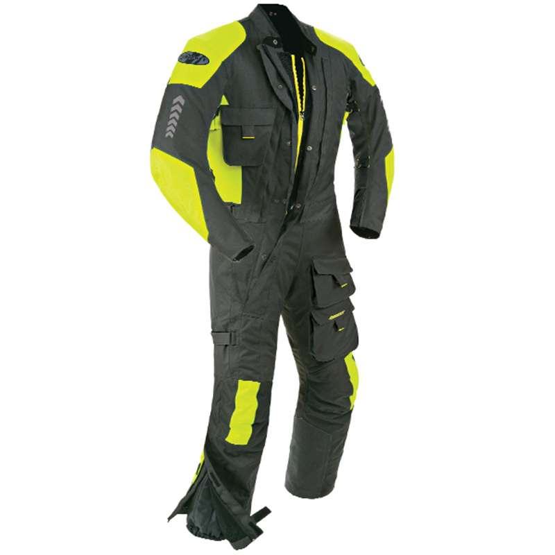 Joe Rocket Survivor 1-pc Textile Suit Black/Hi-Viz Neon