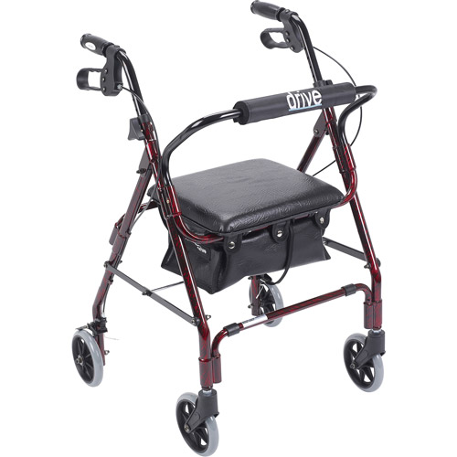 Drive Medical Mimi Lite Walker Rollator, Flame Red