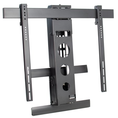 Vivo steel electric above fireplace tv pull down mantel - Fireplace tv mount pull down ...