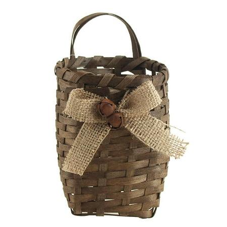 Wicker Baskets Burlap Straw Pouch, 5-1/2-Inch, Grey](Burlap Basket)