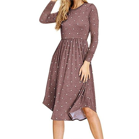 Autumn and Winter Dresses Polka Dot Printed Women's Long-sleeved Round Neck Pleated Pocket Dress - Tween Winter Dresses