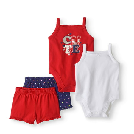 Baby Girl Mix 'n Match Bodysuits & Shorts, 4pc Set - Nautical Baby Girl Clothes