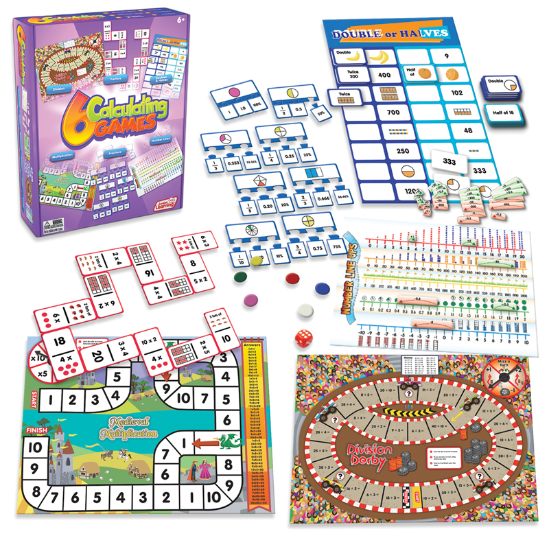 Junior Learning Calculating Games, Set of 6 Different Games