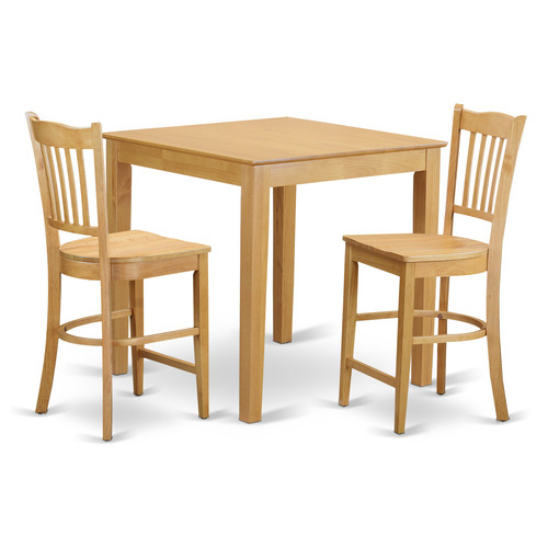 PBGR3 OAK W 3 Piece counter height set high table and 2