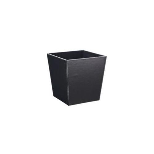 Neu Home 30331 13'' x 9. 75'' Faux Leather Wastebakset - Black