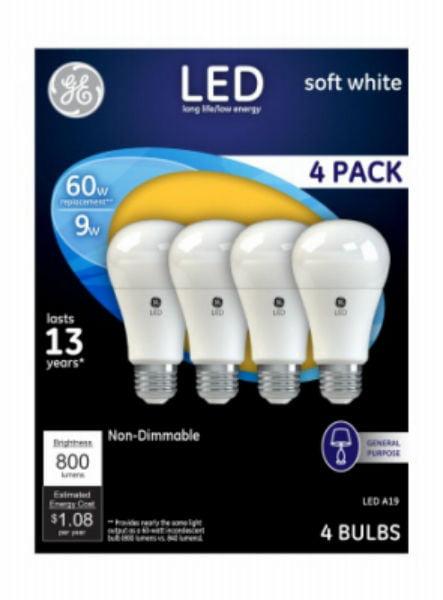 GE LED 9W Soft White General Purpose, A19 Medium Base, Non-Dimmable, 4pk Light Bulbs