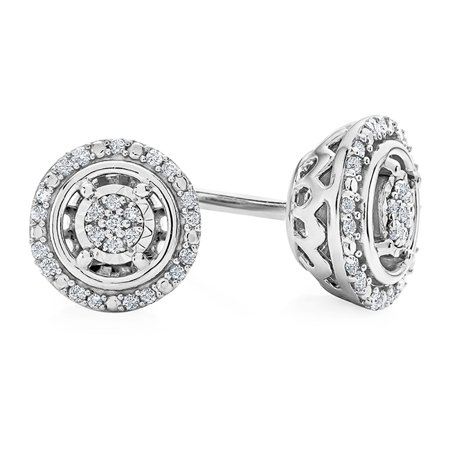686a28a68 Netaya - 1/10 Carat Natural Diamond Halo Stud Earrings in Sterling Silver -  Walmart.com