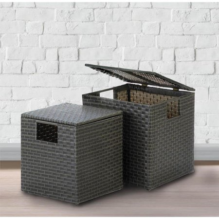 BSD National Supplies Lewiston Wicker Square Storage Trunks - Set of 2 ()