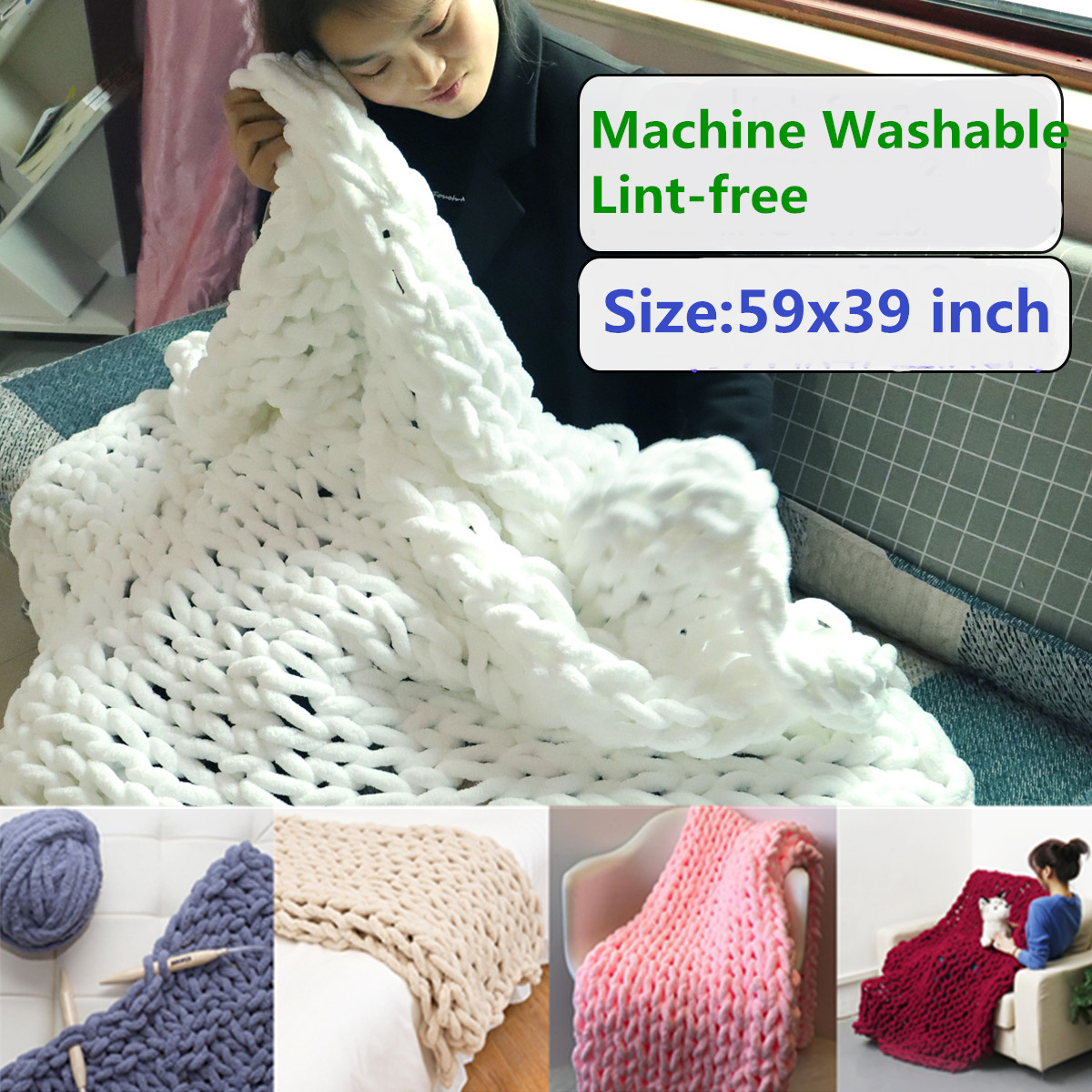 Washable & Lint-free Hand Chunky Knitted Blanket Thick Bulky Knitting Bed Sofa Throw Rug - 59''x39''