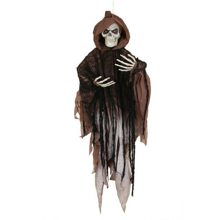 Northlight Seasonal Scary LED Hooded Skeleton Hanging Halloween Decoration](Homemade Halloween Skeleton Decoration)