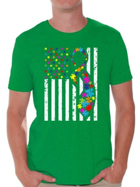 94f3d874008a1 Free shipping. Product Image Awkward Styles USA Flag Autism Shirts for Men  Autism Awareness Ribbon T-shirt American Flag
