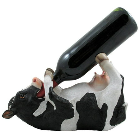Wine Country Kitchens - Decorative Holstein Cow Wine Bottle Holder Display Rack for Country Farm Kitchen Bar Decor by Home 'n Gifts