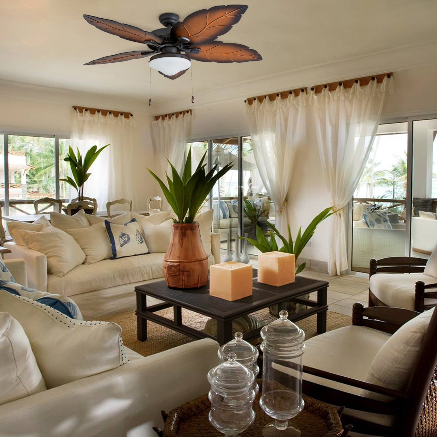 Prominence Home 50828 35 Delray Tropical 52 Inch Bronze Damp Rated Ceiling Fan Globe Mocha Blades And Bluetooth Capable Remote