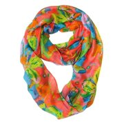 Peach Couture  Colorful Hibiscus Infinity Loop Scarf