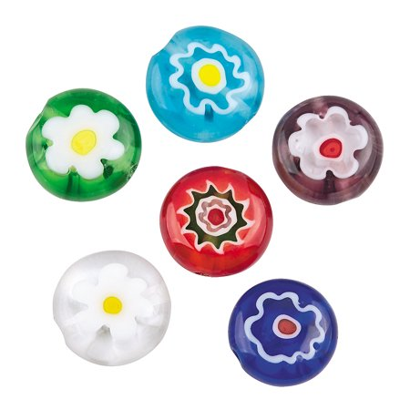 Fun Express - Round Flower Millefiori Glass Bead for Spring - Craft Supplies - Adult Beading - Glass Beads - Spring - 24 Pieces (Spring Crafts For Adults)
