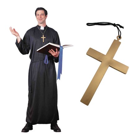 Mens Traditional Catholic Priest Robe Belt And Cross Necklace Halloween Costume - Priest Robe