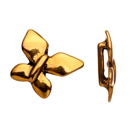 Butterfly Antique Gold-Plated Flat Leather Cord Charm Fits 1.5x9mm Cord, 19x5mm