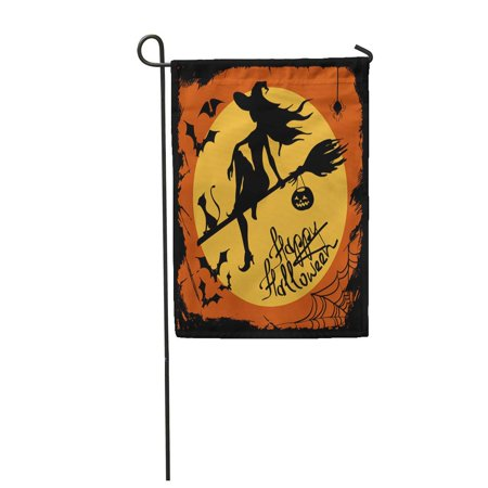 LADDKE Orange Halloween with Beautiful Witch Silhouette Flying on The Broom with Cat Garden Flag Decorative Flag House Banner 12x18 inch](Witch Silhouette Halloween)