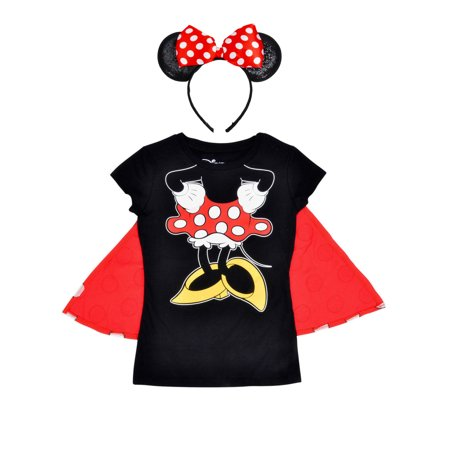 Girls Minnie Mouse Halloween Costume T-Shirt w/ Cape, Ears & Bow 2Pc