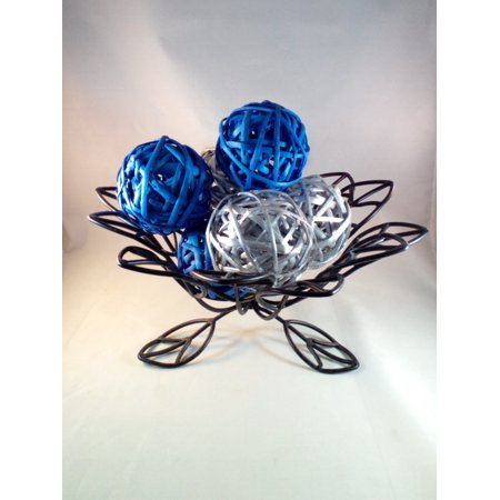 Decorative Spheres (Silver and Blue) Rattan Vase Filler Christmas Ornament
