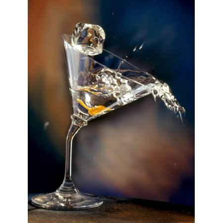 Vodka Martini Spilling from a Bent Martini Glass with Ice Cube Print Wall Art By Jeff Sarpa (Martini Pop Art)