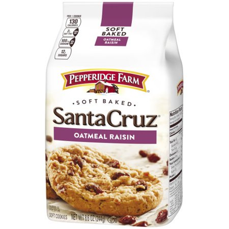 - (2 Pack) Pepperidge Farm Santa Cruz Soft Baked Oatmeal Raisin Cookies, 8.6 oz. Bag