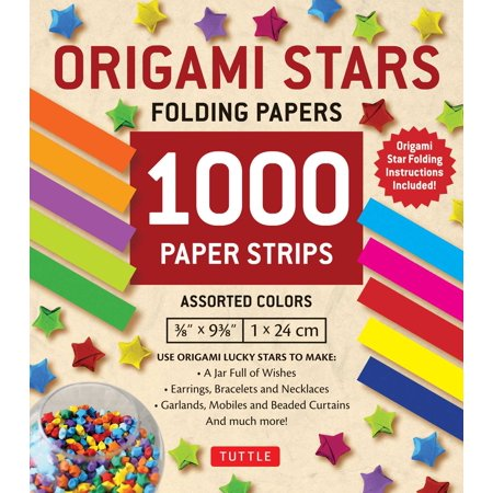 Origami Stars Papers 1000 Paper Strips in Assorted Colors : 10 colors - 1000 sheets - Easy Instructions for Origami Lucky Stars